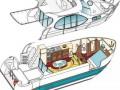 Plan de coupe du N DUO - Nicols yacht nature Camargue fluvial plaisance croisière navigation sans permis péniche vedette bateau moteur vacances soleil mer plage baignade Sud de France vin gastronomie canal Rhône-à-Sète Rhône Gard Hérailt Midi Canal du Midi